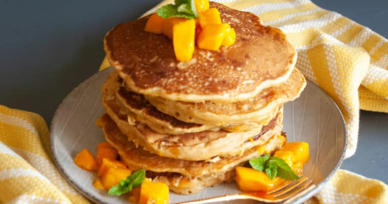 Whole wheat Vegan Mango Pancakes with no eggs or butter