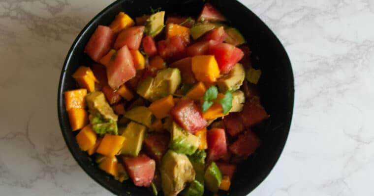 Summer Salad with Watermelon, Avocado and Mango